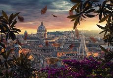 Rome roofs in Autumn. Beautiful sunset on the city of Rome in evening stock photos