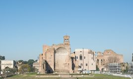 Rome ruins cityscape view. With blue sky stock images