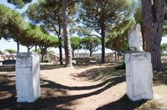 Rome. Ruins of Ostia antica. Rome, Italy. 15 august 2016. Ruins of Ostia antica, Rome. Forecourt of the corporations Stock Photos