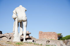 Rome. Ruins of Ostia antica. Rome, Italy. 15 august 2016. Ruins of Ostia antica, Italy. Republican sacred area, statue of Hercules Royalty Free Stock Image