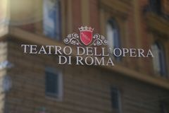 Rome`s Opera House sign. Rome, Italy - August 8, 2017: Logo of Rome`s Opera House, Italian: Teatro dell`Opera di Roma, an opera house in Rome with regular opera Stock Images