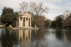 Leisure lake at Giardino del Lago at Villa Borghese in Rome Ital. Rome`s Villa Borghese park contains a small artificial lake, known as the laghetto, where Royalty Free Stock Images