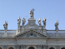 Rome - Saint John in Lateran. The top of the Saint John in Lateran church in Rome Stock Photo