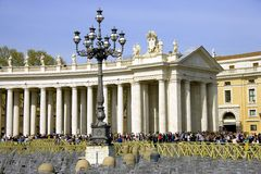 Rome Saint Peter's square baroque colonnade statues of apostles Royalty Free Stock Photo