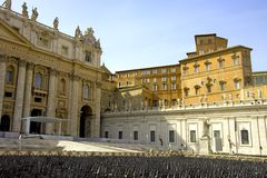 Rome Saint Peter's square baroque   statues ofSt. Peter's Cathedral apostles Stock Photos