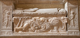 Rome - Samson s battle with the lion. Relief on the wall of tomb from late 15. century in Santa Maria Sopra Minerva church Royalty Free Stock Images