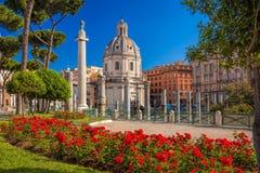 Rome with Santa Maria di Loreto church against Trajan column in Italy Stock Image