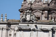 Rome Santi Luca e Martina Church i romamforum Arkivbild