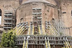 Rome. Scaffolding to support ancient Roman walls. Construction o stock photos