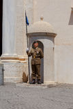 Rome. Sentinels in front of the Quirinal Palace. Rome, Italy - May 16, 2017: Soldiers with spears guard the Quirinale Palace Royalty Free Stock Photography