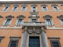 Rome - Side facade of the Lateran Palace. Rome, Lazio, Italy - April 3, 2017: The side elevation of the Lateran Palace overlooking the square of St. John Lateran Royalty Free Stock Photo