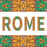 Rome sign with tribal ethnic ornament. Decorative. Arabic frame border pattern. Vector background or card design Stock Images