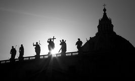 Rome - silhouette of Jesus from  colonnade Stock Photo