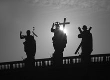 Rome - silhouette of Jesus with the cross form colonnade od st. Peter s basilica Stock Image