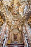 Rome - skeppet av den kyrkliga Chiesa di San Nicola deien Lorensi med takfreskomålningen av Corrado Giaquinto från år 1731 - 33 Royaltyfri Fotografi
