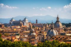 Rome, Italy Skyline in Panoramic View. Rome skyline at the city center with panoramic view of famous landmark of Ancient Rome architecture, Italian culture and royalty free stock images