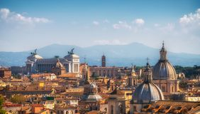 Rome, Italy Skyline in Panoramic View. Rome skyline at the city center with panoramic view of famous landmark of Ancient Rome architecture, Italian culture and stock photos