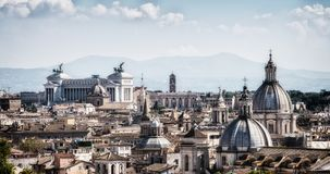 Rome, Italy Skyline in Panoramic View. Rome skyline at the city center with panoramic view of famous landmark of Ancient Rome architecture, Italian culture and stock photography
