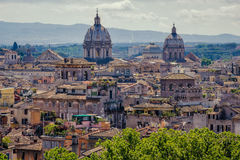 Rome skyline cityscape as see from Castle San Angelo Royalty Free Stock Photos