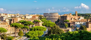 Rome Skyline with Colosseum and Roman Forum, Italy. Rome, Italy city skyline with landmarks of the Ancient Rome ; Colosseum and Roman Forum, the famous travel stock photos