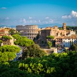 Rome Skyline with Colosseum and Roman Forum, Italy. Rome, Italy city skyline with landmarks of the Ancient Rome ; Colosseum and Roman Forum, the famous travel royalty free stock photo
