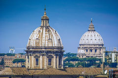 Rome skyline with domes Royalty Free Stock Photos