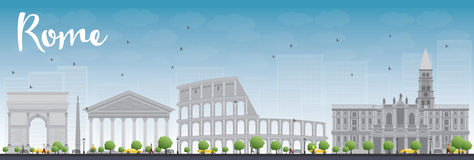 Rome skyline with grey landmarks and blue sky Royalty Free Stock Images