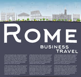 Rome skyline with grey landmarks and copy space. Royalty Free Stock Photography