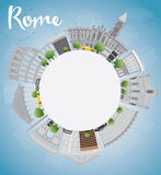 Rome skyline with grey landmarks and copy space Royalty Free Stock Photos