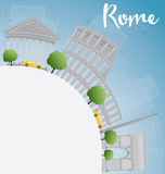Rome skyline with grey landmarks and copy space Stock Images