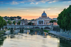 Rome skyline - Italy. Sunset at Rome with Saint Peter's Basilica - Rome - Italy Royalty Free Stock Image