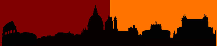 Rome skyline silhouette Stock Photography