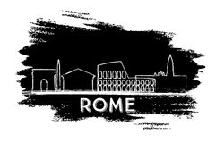 Rome Skyline Silhouette. Hand Drawn Sketch. Vector Illustration. Business Travel and Tourism Concept with Historic Architecture. Image for Presentation Banner Stock Photos