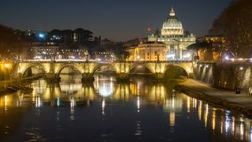 Rome skyline st.peter basilica vatican city as seen from tiber river stock video footage