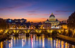 Rome skyline at sunset as seen from Umberto I Bridge. Italy. stock photography