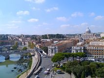 Rome skyline. With Tiber River and St. Peter`s Basilica stock photo