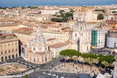 Rome skyline and Trajans Column in Rome, Italy royalty free stock photo