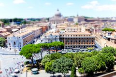Rome skyline with Vatican and St. Peter`s Cathedral from the Castel Sant`Angelo, Rome, Italy stock image