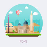 Rome. Skyline and vector landscape of buildings and  famous land Stock Images