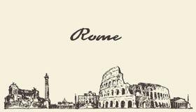 Rome skyline vintage illustration drawn sketch. Rome skyline vintage engraved illustration hand drawn sketch Royalty Free Stock Photos
