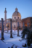 Rome in the snow. Rome under the snow. Evocative images of the eternal city snow. Ancient monuments visited by millions of tourists Stock Images