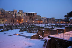 Rome in the snow. Rome under the snow. Evocative images of the eternal city snow. Ancient monuments visited by millions of tourists Stock Image