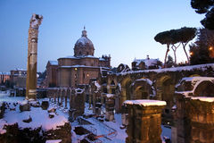 Rome in the snow. Rome under the snow. Evocative images of the eternal city snow. Ancient monuments visited by millions of tourists Royalty Free Stock Photo