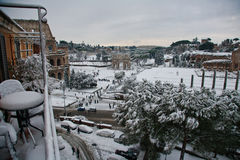 Rome snow. Rome forum and colosseum in snow Stock Photo
