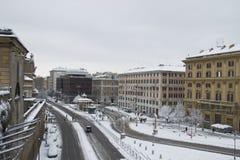 rome snowfall square under Arkivfoto