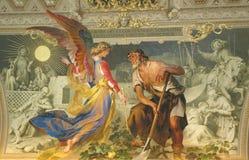 Rome som målar inre av basilikan för St Peter ` s i Vaticanen Detalj av målningar i altartavlor royaltyfri bild