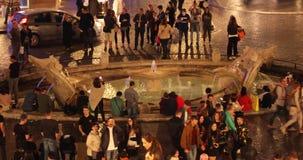 Rome, Spain Square fountain Barcaccia 4k real video. In the night stock video