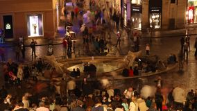 Rome, Spain Square fountain Barcaccia time lapse. In the night stock video