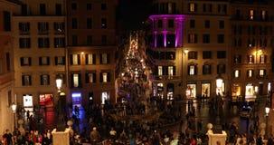 Rome, Spain Square via condotti street 4k real video. In the night stock video footage