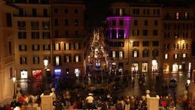 Rome Spain Square via condotti time lapse. In the night stock video